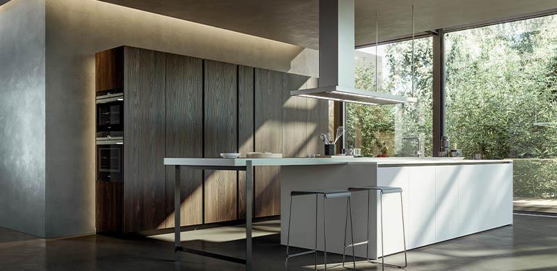 Gesloten moderne houten witte keuken in I-vorm met eiland door Sébastien PRIELS | Raison Home - 4