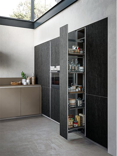 Tall integrated storage cabinet
