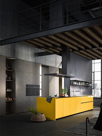 Flashy yellow kitchen island