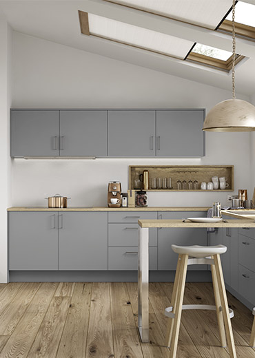 Grey and wooden kitchen style