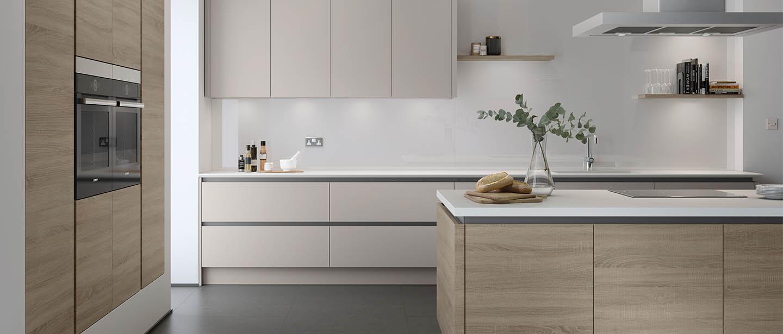 Wooden kitchen white worktop