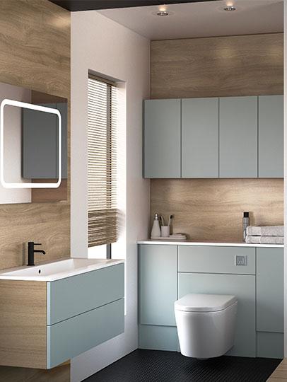 Space saving storage light blue bathroom