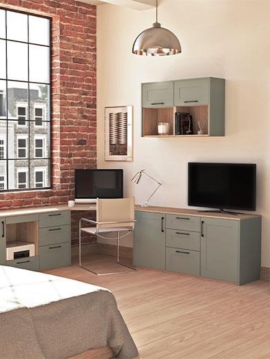 Green bedroom office