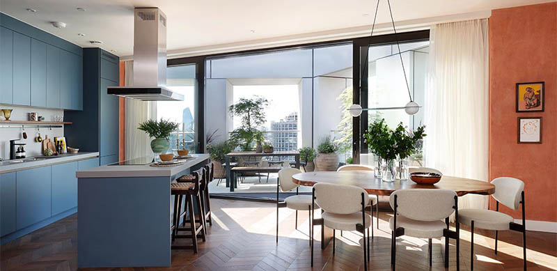 Open kitchen in modern mid blue style by Charmaine ULYATE 6