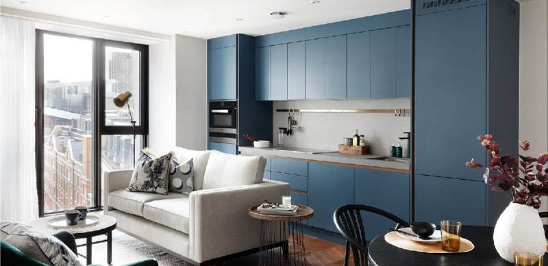 Open kitchen in modern mid blue style by Charmaine ULYATE 7